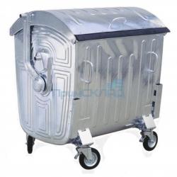 Мусорный контейнер металлический с крышкой 1100 литров на колесах