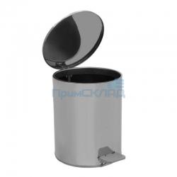 Урна педальная круглая 15 л (Хром) с крышкой