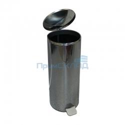 Урна педальная круглая 30 л (Хром) с крышкой