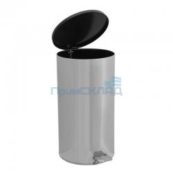 Урна педальная круглая 40 л (Хром) с крышкой