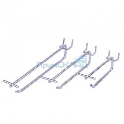 Крючок одинарный с ценникодержателем хромированный 400 мм