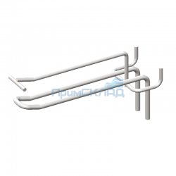 Крючок двойной с ценникодержателем хромированный 300 мм