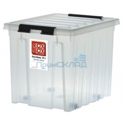 Контейнер с крышкой, клипсами на роликах 50 литров