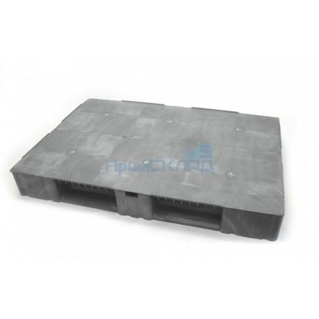 Паллет пластиковый 1200х 800х150 сплошной на з-х полозьях (серый)